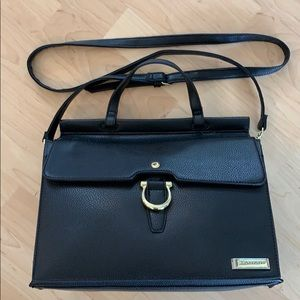 Tahari Black Glamper Flap Satchel